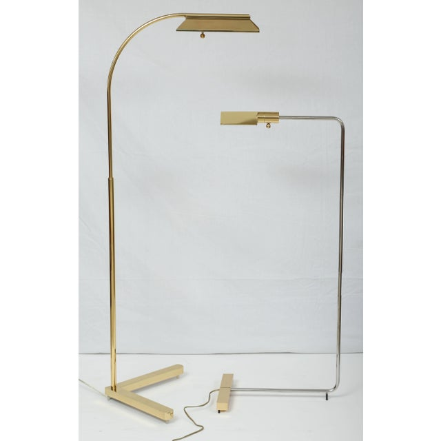 1980s Casella Lighting Adjustable Floor Lamp in Polished Brass For Sale In West Palm - Image 6 of 7