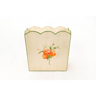 Vintage Country Style Wooden Basket With Handpainted Orange Flower and Green Borders Preview