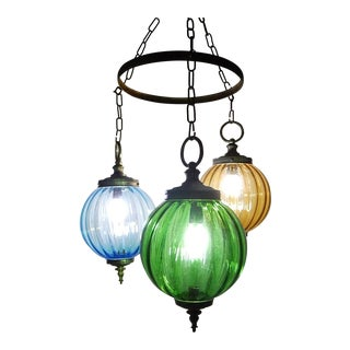 Midcentury Murano Blue Yellow Green Blown Glass Globes Lanterns Chandelier For Sale