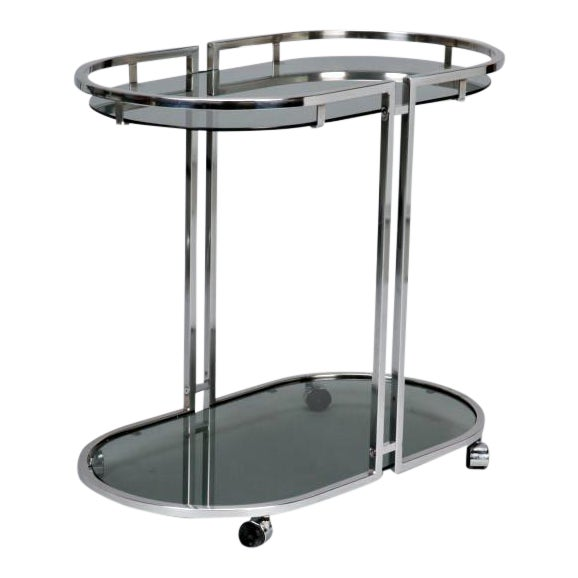 French Mid-Century Chrome and Glass Bar Trolley - Image 1 of 9