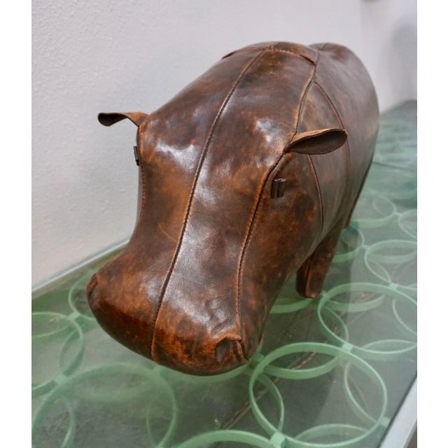 1970s Vintage Omersa for Abercrombie + Fitch Leather Hippo Ottoman For Sale In Palm Springs - Image 6 of 9