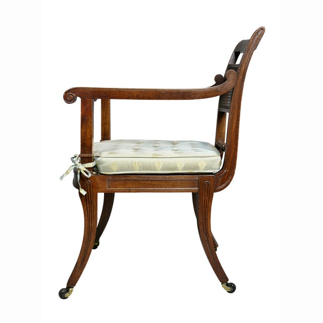 Regency Mahogany and Ebony Inlaid Armchair For Sale - Image 11 of 13