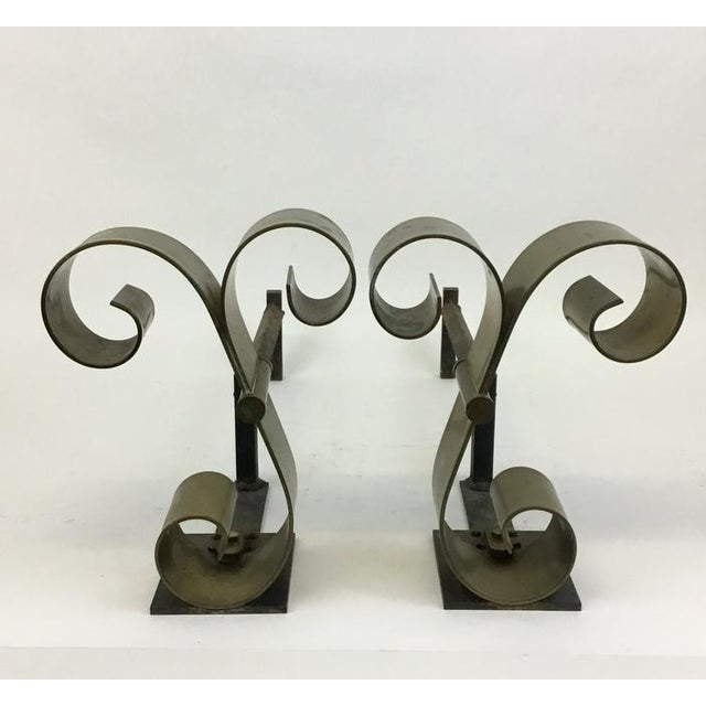 1940s Mid Century Solid Brass Scroll Andirons Attributed Raymond Subes For Sale - Image 5 of 5