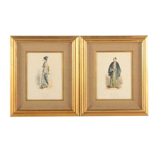 Vintage 19th Century Japanese Costumes Hand Colored French Intaglio Prints - a Pair For Sale