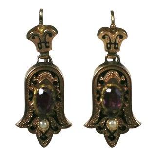 Victorian Enamel and Garnet Earrings For Sale