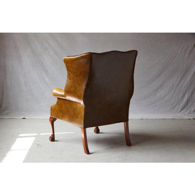 Superb Buckingham Walnut Burnished Leather Wingback Chair