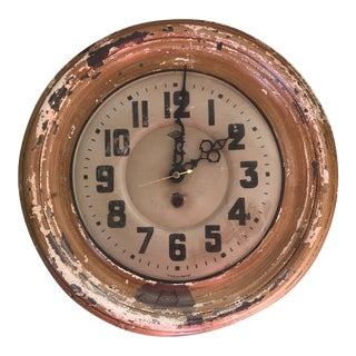 1930s French Japy Metal Wall Clock For Sale