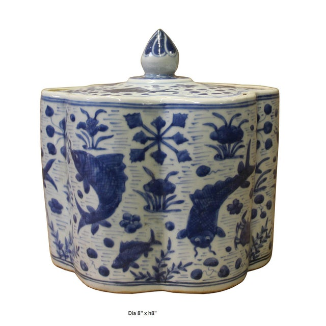 Ceramic Chinese Blue White Flower Shape Porcelain Fishes Flowers Accent Jar For Sale - Image 7 of 7