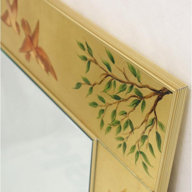 Gold Reverse Painted Gold Leaf Rectangular Frame Decorative Mirro For Sale - Image 8 of 13