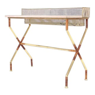 20th Century Hollywood Regency X-Base Brass and Marble-Top Console Table For Sale