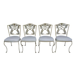 1960s Art Nouveau Gold with Orange Motif Outdoor Chairs - Set of 4 For Sale