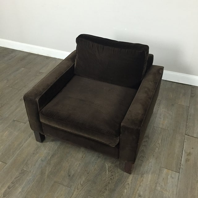 Room & Board Brown Suede Club Chair - Image 4 of 11