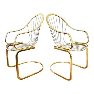 1970s Vintage Willy Rizzo Italian Brass Cantilever Chair For Sale
