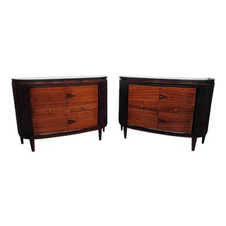20th Century Art Deco Slate Top Demi-Lune Commodes - a Pair For Sale