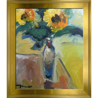 Jose Trujillo Framed Impressionist Oil Painting of Sunflowers For Sale