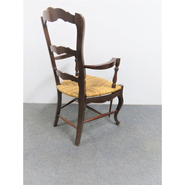 Late 20th Century County French Mahogany Rush Seat Arm Chairs- a Pair For Sale - Image 5 of 6