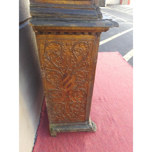 19th Century Italian Hand Painted Polychromed Giltwood Claw Footed 2 Piece Cupboard For Sale - Image 9 of 13