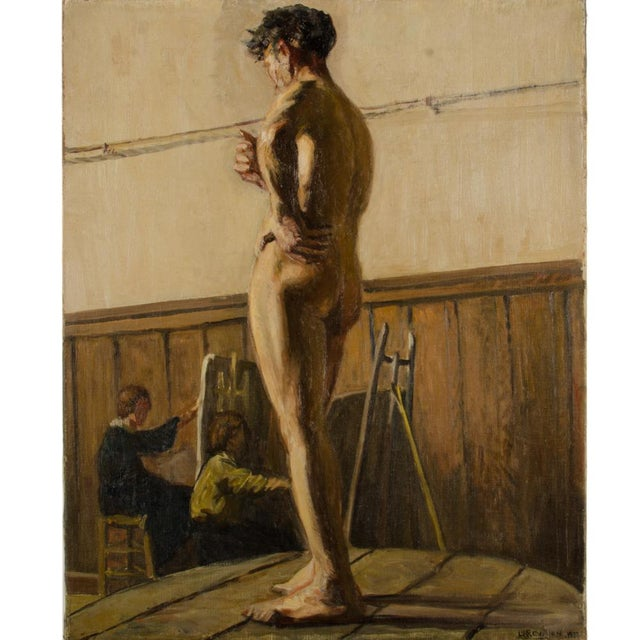 19th Century Portrait of a Nude Male Study Oil Painting by Louis Henri Revillon For Sale In Philadelphia - Image 6 of 13