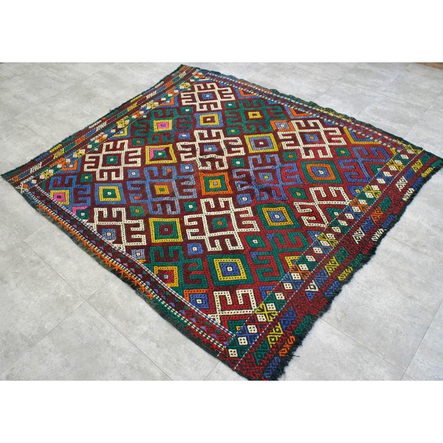 """Vintage Braided Rug. Flat Weave Area Rug - 5' 1"""" X 5' 8"""" For Sale - Image 4 of 9"""