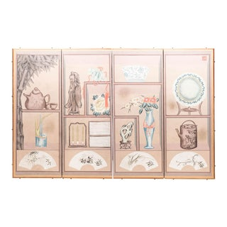 "Lawrence & Scott ""Cupboard"" Chinoiserie 4-Panel Screen Painting For Sale"