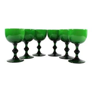 Carlo Moretti 1960s Italian Green Small Wine Glasses - Set of 6 For Sale