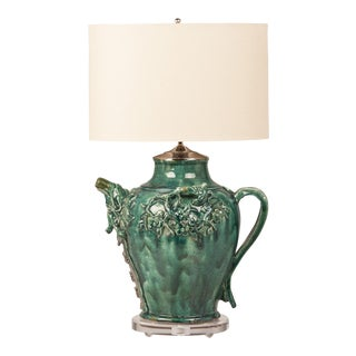 Green Glazed Vintage Chinese Pottery Vessel Jug Lamp China Circa 1940