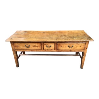 Vintage French Farmhouse Table With Three Drawers For Sale