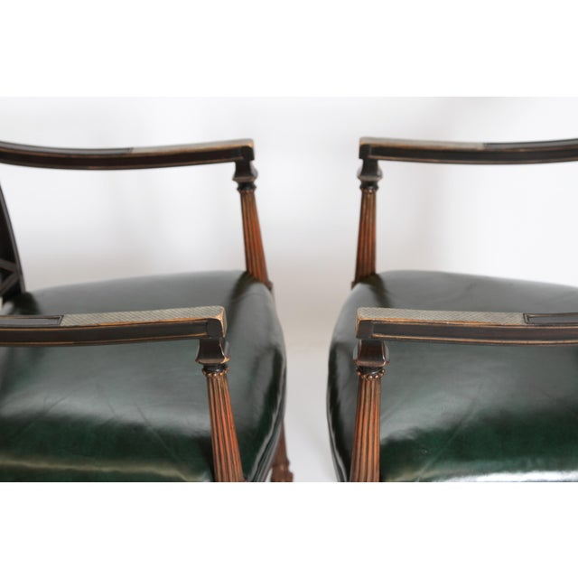 Mid 20th Century Pair of Regency Style Lacquer Arm Chairs For Sale - Image 5 of 13