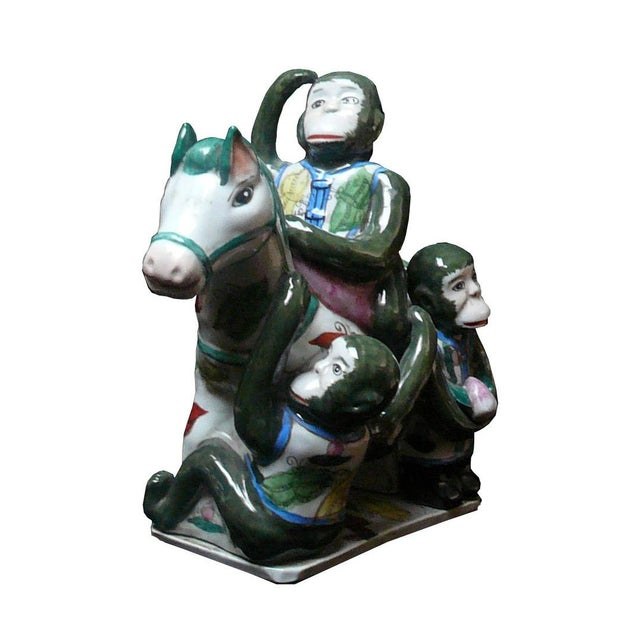 Handmade Ceramic Monkey and Horse Statue For Sale