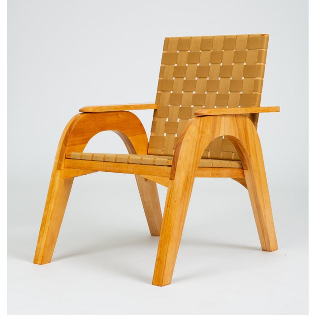 Mid-Century Modern Bauhaus-Style Maple Lounge Chair With Nylon Webbed Seat For Sale - Image 3 of 12
