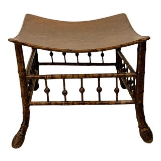 19th Century Egyptian Revival Bamboo Thebes Stool-1890 England For Sale