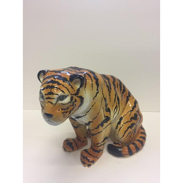 Italian Italian Terracotta Seated Tiger Sculpture For Sale - Image 3 of 11