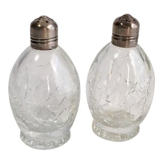 Antique Sterling & Glass Salt & Pepper Shakers - A Pair For Sale