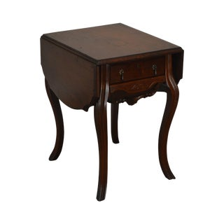 Victorian Walnut Antique Drop Side Sewing Table For Sale