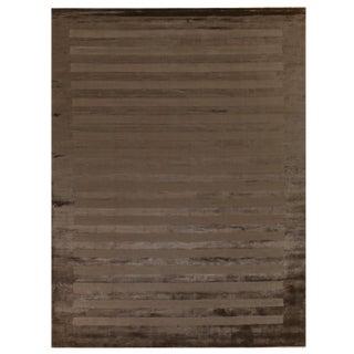 Yunta Hand loom Viscose Dark Beige Rug - 14'x18' For Sale
