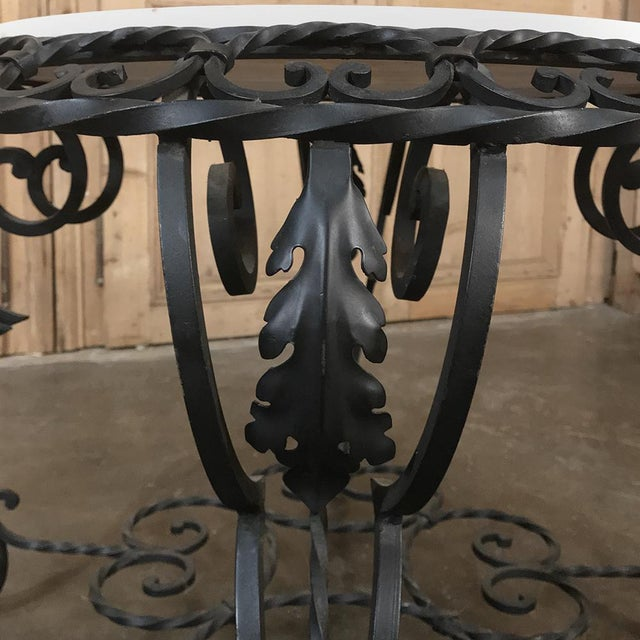 Mid-Century French Wrought Iron Marble-Top Coffee Table For Sale In Dallas - Image 6 of 12