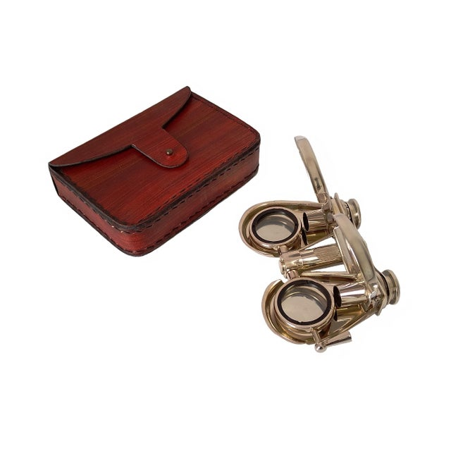 2010s Vintage Nickel Plated Brass Folding Binoculars with Leather Case For Sale - Image 5 of 6