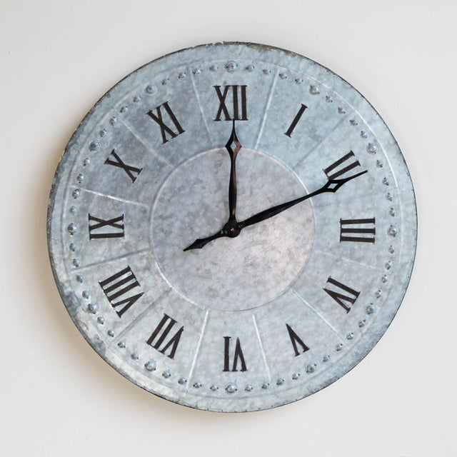 Industrial Galvanized Wall Clock - Image 2 of 4