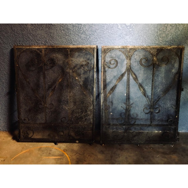 Antique Black Iron Fireplace Screens-A Pair For Sale - Image 9 of 10