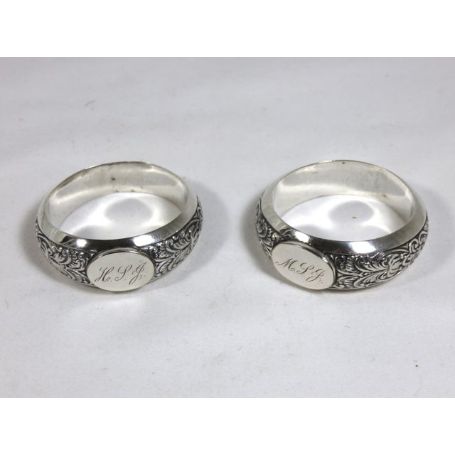 Metal 1850s Vintage Coin Silver Napkin Rings - a Pair For Sale - Image 7 of 7
