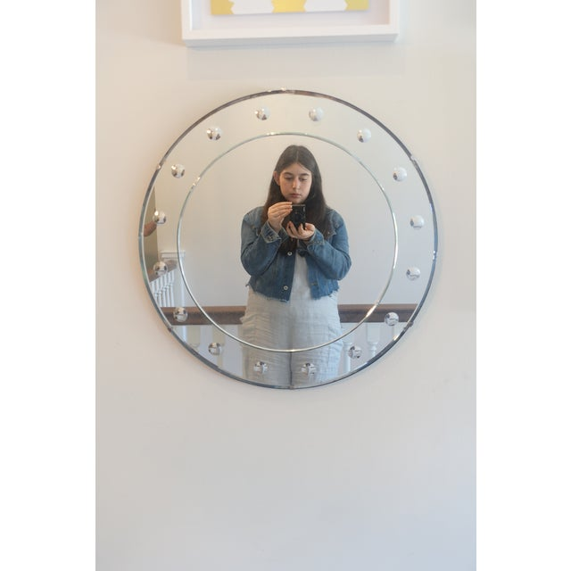 1940s 1940s Art Deco Round Frameless Mirror For Sale - Image 5 of 5