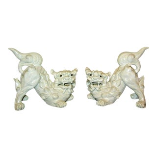 Japanese White Porcelain Foo Dogs Figurines - A Pair For Sale