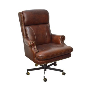 Quality Chestnut Brown Leather Swivel Executive Office Desk Chair