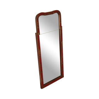 Friedman Brothers Williamsburg Restoration Red Chinoiserie Painted Looking Glass Mirror For Sale