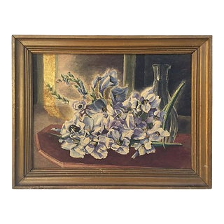 Vintage French Floral Still Life Oil Painting For Sale