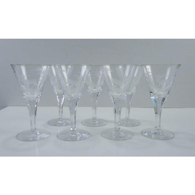 Glass Etched Wildlife Vintage Wine Glasses - Set of 7 For Sale - Image 7 of 7