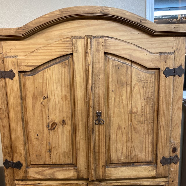 Late 20th Century Rustic Pine Armoire For Sale - Image 4 of 13