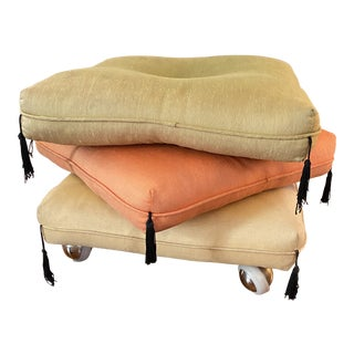 Mid Century Rolling Stacking Cushion Stool For Sale