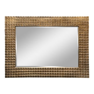 Large Textured Gold + Silver Framed Wall Mirror