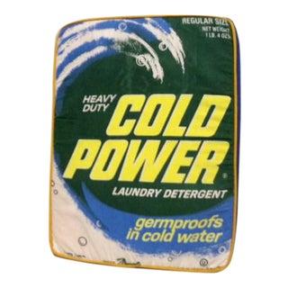 Vintage Pop Art Cold Power Laundry Detergent Box Foam Pillow For Sale
